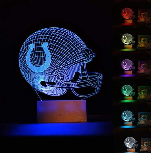 - Football Helmet Light - Touch Control Football Team Light Lamp- 7 Color Changing Touch Light Lit Base - Night Light for Boys Men Women for Football Sports Lovers (Indianapolis Colts)