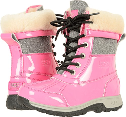 UGG Girls K Butte II Patent Sparkle Lace-up Boot, Pink Azalea, 5 M US Big (Ugg Lace Up Boots)