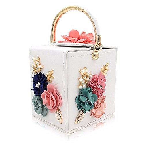SSMENG Bolso de hombro Bolsos azules del bolso de tarde de las señoras del embrague de la boda del bolso de las mujeres de la flor, D E