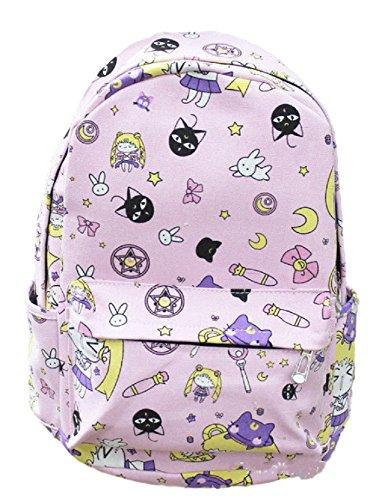 GK-O Anime Sailor Moon Luna Canvas Girls Travel Schoolbag Backpack Student Shoulder Bag Cosplay Costume ()