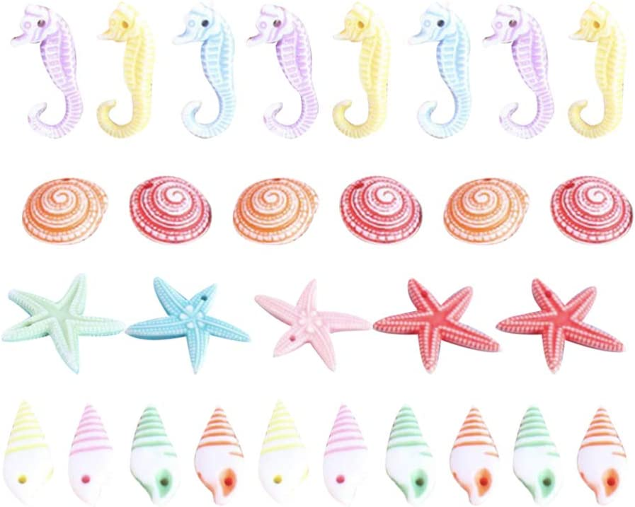 TENDYCOCO Mini Beach Seashells Sea Star Seahorse Natural Conch for Home Decorations Beach Theme Party Wedding DIY Crafts Fish Tank Vase Fillers Bonsai Decor 48pcs