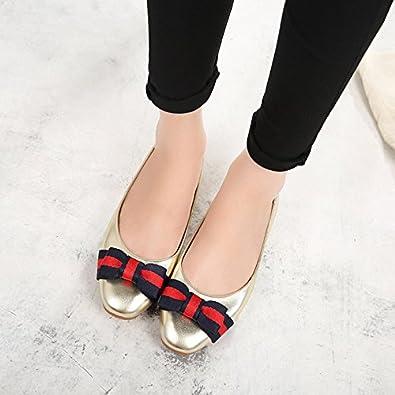 LEIT Chaussures Femmes Chaussures Plates Minces Retro Un Mot à Tête Carrée Strass Boucle,Couleur Abricot,38