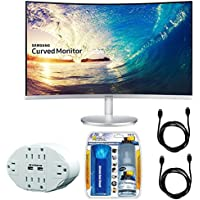 Samsung CF591 Series 27' LED Curved Monitor (C27F591FDN) with Xtreme 6 Outlet Wall Tap w/ 2 USB Ports White, Xtreme Performance TV/LCD Screen Cleaning Kit & 2x General Brand HDMI to HDMI Cable 6'