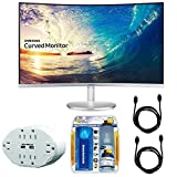Samsung CF591 Series 27 LED Curved Monitor (C27F591FDN) with Xtreme 6 Outlet Wall Tap w/ 2 USB Ports White, Xtreme Performance TV/LCD Screen Cleaning Kit & 2x General Brand HDMI to HDMI Cable 6'