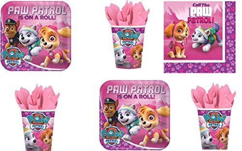 Paw Patrol Girls Pink Everest Skye Party Pack for 16 Guests