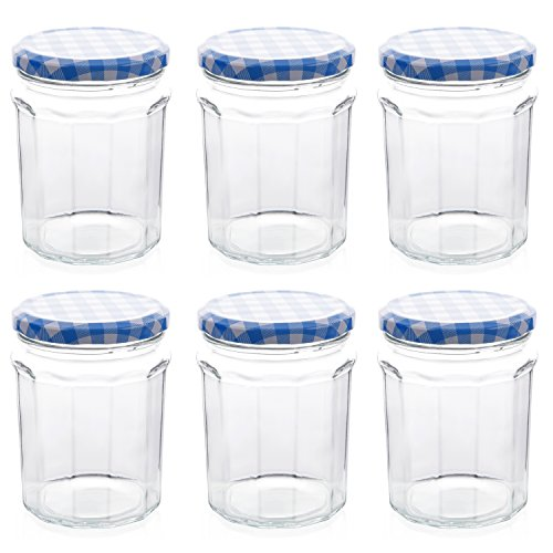 Klean Shop Jam Jars With Lids - Blue Lid Jam Jar Set - Fruit Mason Jar - Glass Jam Canning Jars - DIY 12oz (380ml), 6 Pack Jars- Perfect for Jam Storing, Pickles and Many Other