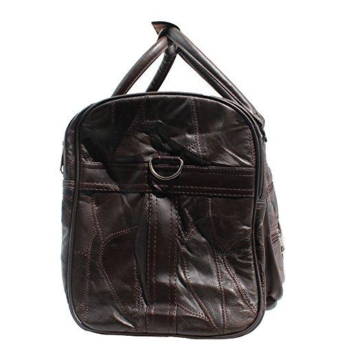 CTM Unisex bolsa de viaje de cuero con correa para el hombro interior - 46x29x23 Cm Marron Oscuro