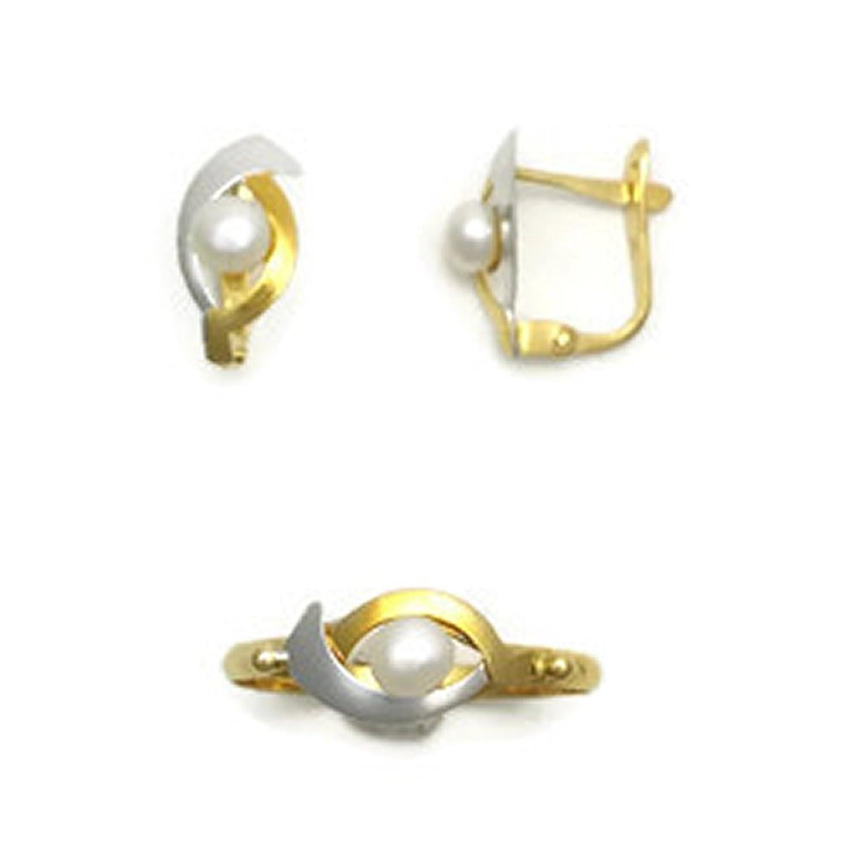 5bfeb5803866 En venta Conjunto de Oro Bicolor de 18K de Anillo y Pendientes para Niñas  Perez Mora