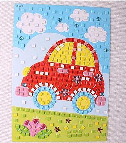23 5cm Kids DIY handmade Cartoon Crystal Mosaic Art Stickers Puzzle