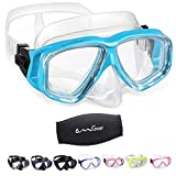 OMGear Diving Mask Snorkeling Gear Kids Adult Snorkel Mask Dive Goggles Silicone Swim Glasses Scuba Free Diving Spearfishing Anti-Leak Anti-Fog Neoprene Strap Cover Impact Resistance