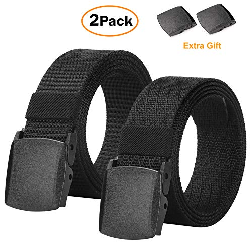 Men's Military Tactical Web Belt, Casual Nylon Webbing with No Metal Buckle 2 Pack
