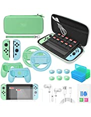 Switch Accessories Bundle - YUANHOT Essential Pack Compatible with Nintendo Switch with Carrying Storage Case & Screen Protector, Controller Handle Grips &Steering Wheels, Game Holders & More - Green