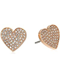 Fossil Pave Heart Stud Earrings
