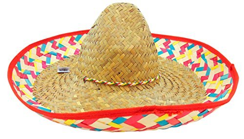 Authentic Mexican Sombrero Adult Hat with Chinstrap 22 1/2 (Sombreo Hat)