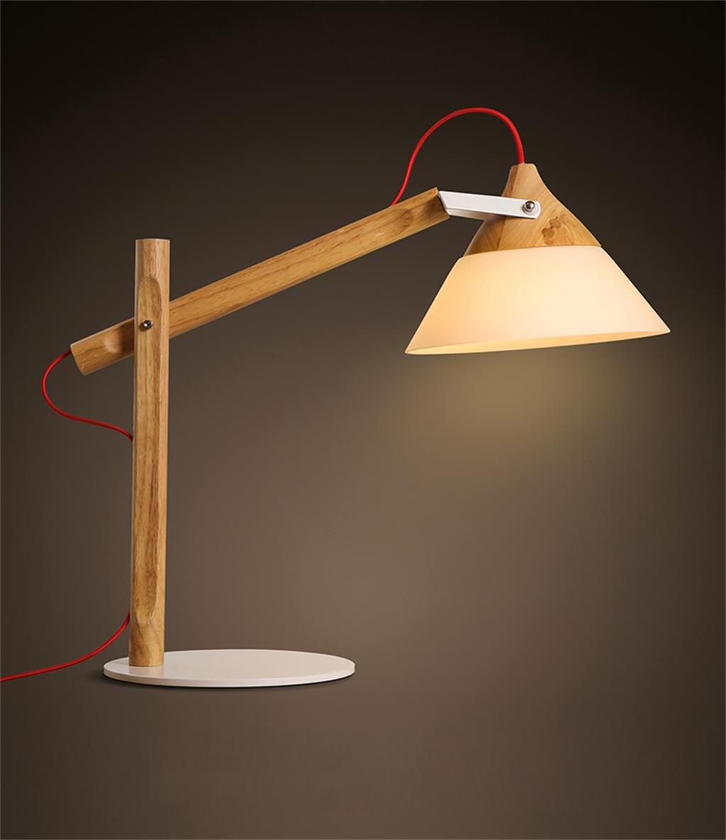 ZHENGAI Moderne Einrichtung den Schreibtischlampe Schlafzimmer Nacht kreative Persönlichkeit Nordic Holz Tischleuchte Nachttischlampen