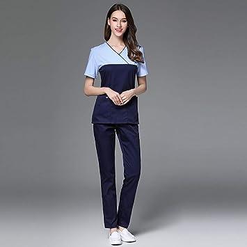 OPPP Ropa médica Costura Color Mujer médico Ropa Enfermera Uniforme Traje médico Farmacia Belleza cirugía plástica