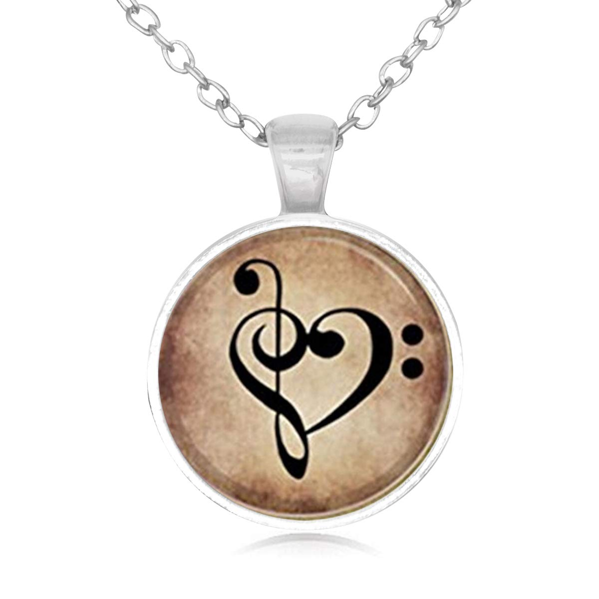 Lightrain Bass Treble Clef Heart On Dark Parchment Pendant Necklace Vintage Bronze Chain Statement Necklace Handmade Jewelry Gifts