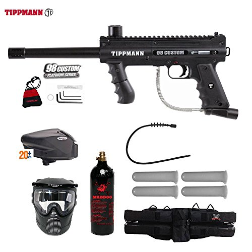 MAddog Tippmann 98 Custom Gold Paintball Gun Package - Black ()