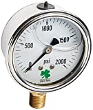 2000 PSI Pressure Washer - Zenport LPG2000 Zen-Tek Glycerin Liquid Filled Pressure Gauge, 2000 PSI