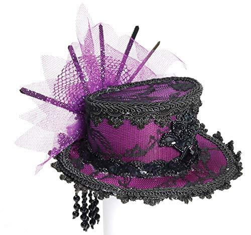 Burlesque Halloween Hair (Forum Novelties Women's Steampunk Victorian Mini Top Hat Costume Accessory, Purple, One)