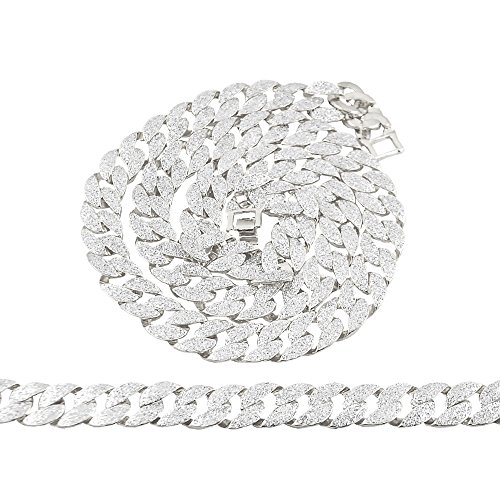 """30"""" 15mm Mens Silver Tone Full Icy Stardust Hip Hop Miami Cuban Chain and Bracelet Set"""