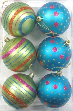 Queens of Christmas WL-ORN-6PK-LD-MDGR 6 Pack Ball Ornament with Mardi Gras Dot and Line Design, Pink/Blue/Orange/Lime Green (Queen Mardi Gras)