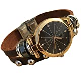 Fashion Women's Lady's Leather Wrist Bracelet Watch with Vintage Black Dial Perfect as Gift