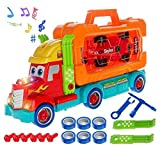 Vokodo Carrier Truck 35 Piece Take-a-Part Tool Box with Racing Car and Realistic Lights and Sounds Great Toy for Boys