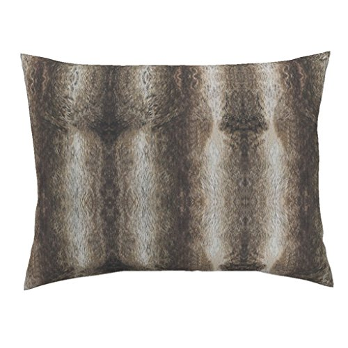 Roostery Faux Chinchilla Chinchilla Faux Fur Fur Animal Fur Deer Hide Winter Euro Knife Edge Pillow Sham Chinchilla Faux Fur Animal by Jenlats 100% Cotton Sateen