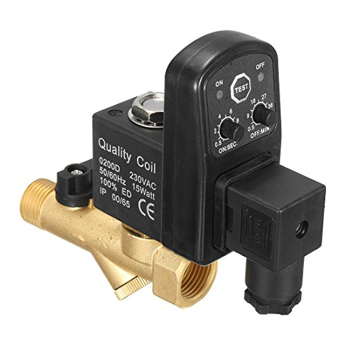 SODIAL AC 220V 1/2inch Electronic Timed 2way Air Compressor Gas Tank Automatic Drain - Gold Tank Air