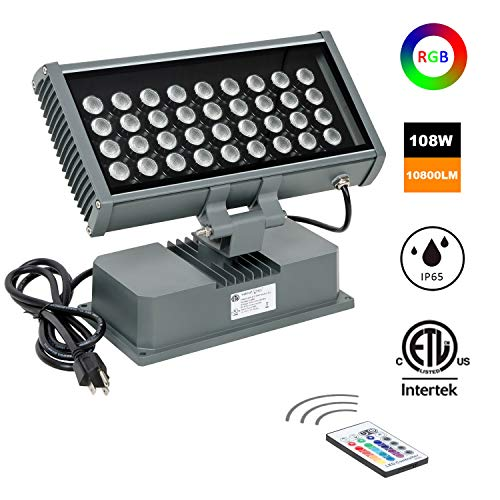 Washer 1 Light Wall (H-TEK 108W RGBW LED Wall Washer Light with RF Remote Controller, Color Changing LED Flood Light for Outdoor/Indoor Lighting Projects Hotels, Resorts, Casinos, Billboards, Building Decorations, Parties)