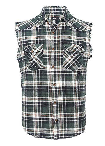 NUTEXROL Men's Casual Flannel Plaid Shirt Sleeveless Cotton Plus Size Vest Dark Green ()