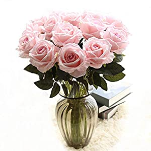 cn-Knight Artificial Flower 12pcs 22'' Long Stem Silk Velvet Rose Real Touch Faux Flower for Wedding Bridal Bouquet Bridesmaid Home Decor Office Hotel Baby Shower Party Prom Centerpiece(Light Pink) 42