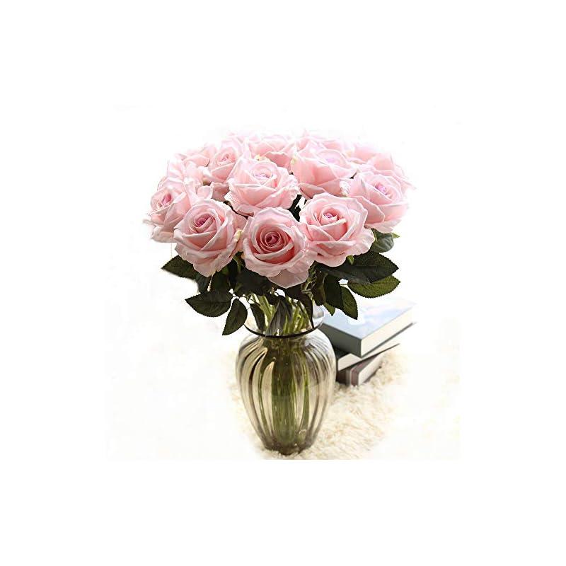 silk flower arrangements cn-knight artificial flower 12pcs 22'' long stem silk velvet rose real touch faux flower for wedding bridal bouquet bridesmaid home decor office hotel baby shower party prom centerpiece(light pink)