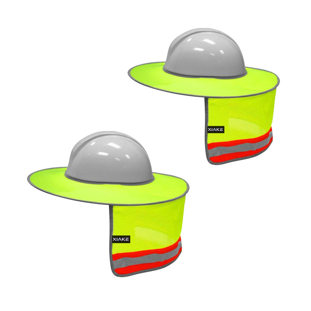 XIAKE 2 Pack Hard Hat Sun Shield Full Brim Mesh Neck Sunshade with Reflective Strips,High Visibility Yellow