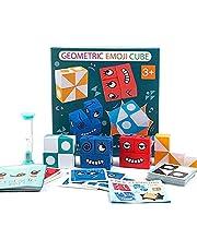 Träbyggklossar leksak, träuttryck matchande block pussel, emoji-matchande pussel, byggkuber leksak boradspel, magisk ansiktsskiftande kub byggklossar pussel leksak