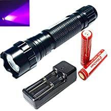 Minchen New 501B 5 Mode 395-410nm Uv Ultraviolet LED Flashlight Torch+2pc Protected 18650 2000mAh Rechargeable Battery and Dual Slot Charger
