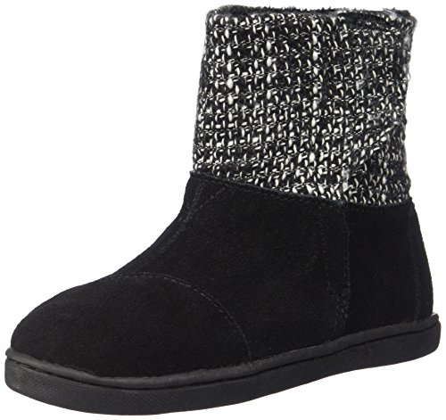Metallic Trim Boot - TOMS Kids Unisex Nepal Boot (Infant/Toddler/Little Kid) Black Suede/Metallic Wool 11 Little Kid M