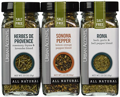 Urban Accents Salt Free Seasoning All Natural Gluten Free - Roma, Sonoma Pepper, Herbes de Provence