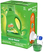 Gain Laundry Detergent Liquid Eco-Box, (Laundry Soap), Concentrated, Original Scent, HE Compatible, 96 Loads