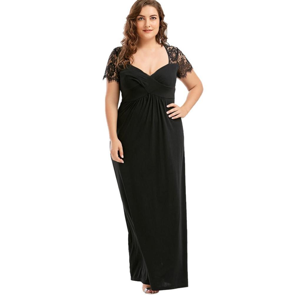 Longra Damen Spitzekleid Plus Size Schwarzes Kleid Kurzarm Sommerkleider Knielang Kleid Damen V-Ausschnitt langes Maxi Kleid Elegant Festliche Cocktailkleid Abendkleid formale Kleidung