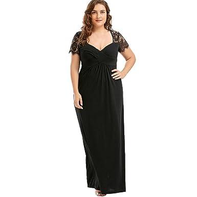 Longra Damen Spitzekleid Plus Size Schwarzes Kleid Kurzarm ...