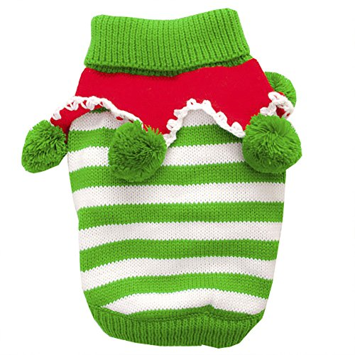 - ChezAbbey Pet Clothes Striped Dog Cat Sweater Shirts Autumn Winter Christmas Puppy Pet Apparel, Green/White, Large