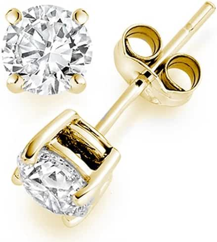 1 Carat Solitaire Diamond Stud Earrings 14K Yellow Gold Round Brilliant Shape 4 Prong Push Back (K-L Color, I1 Clarity)