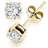 3/4 Carat Solitaire Diamond Stud Earrings Round Cut 4 Prong Push Back 14K Yellow Gold (K-L Color, I1-I2 Clarity)