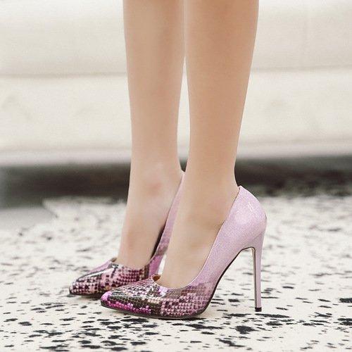 luz con sola tacón y los boquilla alto punta zapatos una pink de primavera verano de la La elegante la nueva el la y fina ZHZNVX de xBqwSYERT