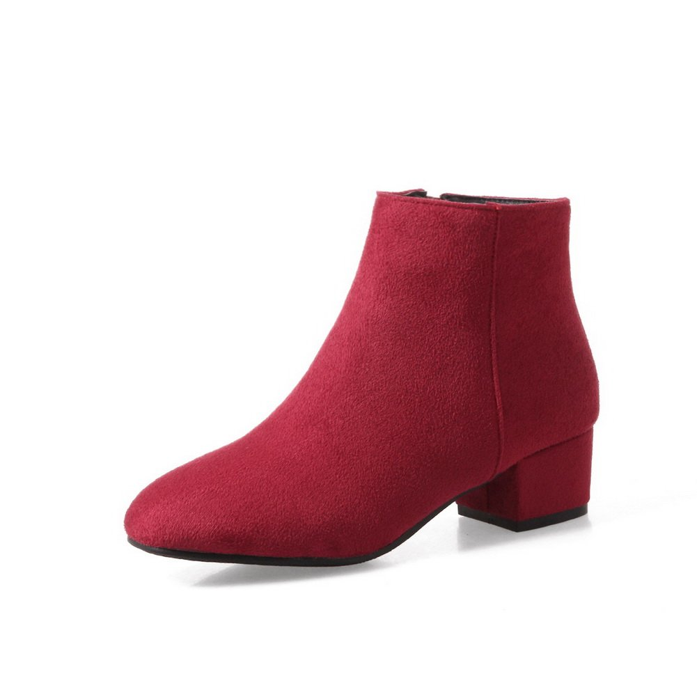 M A/&N Womens Boots Low-Top Zip Low-Heel Warm Lining Solid Road Manmade Smooth Leather Dress Red Urethane Boots DKU01918-7.5 B US