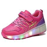 VMATE PU Pink Boy Girl LED Light Up Roller Wheel Skate Sneaker Sport Shoes Dance Boot