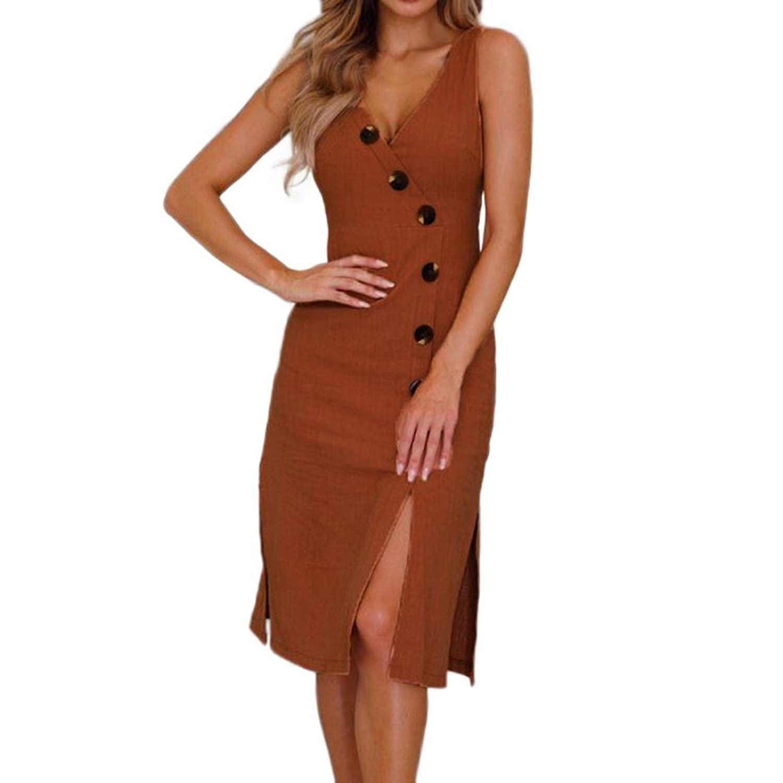 5aebe26a4d61cd AMUSTER Damen Sommer Knöpfe Kleid mit V-Ausschnitt ärmellose Baumwolle  Leinen Freizeitkleidung Strand Maxi Kleid