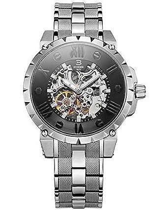 Binger Herren Aautomatische Mechanische Skeleton Schwarzes Zifferblatt Aus Edelstahl Band Wasserdichte Armbanduhr
